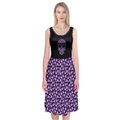 Love And Skulls Purple Midi Sleeveless Dress