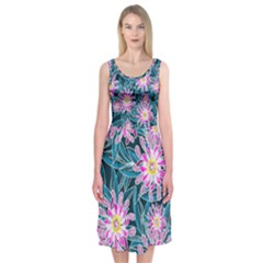 Whimsical Garden Midi Sleeveless Dress