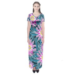 Whimsical Garden Short Sleeve Maxi Dress