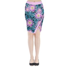 Whimsical Garden Midi Wrap Pencil Skirt