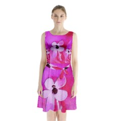 Floralpi Sleeveless Chiffon Waist Tie Dress
