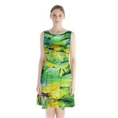 Abstract Landscape Sleeveless Chiffon Waist Tie Dress