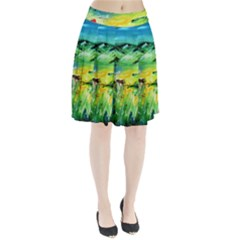 Abstract Landscape Pleated Skirt