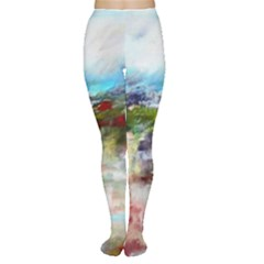 Red Abstract Landscape Women s Tights
