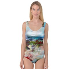 red abstract landscape Princess Tank Leotard