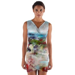 red abstract landscape Wrap Front Bodycon Dress