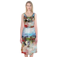Red Abstract Landscape Midi Sleeveless Dress