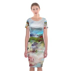 red abstract landscape Classic Short Sleeve Midi Dress