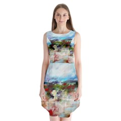 red abstract landscape Sleeveless Chiffon Dress