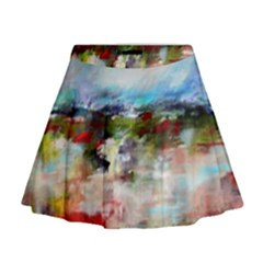 Red Abstract Landscape Mini Flare Skirt