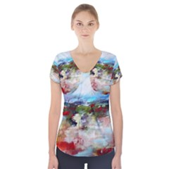 red abstract landscape Short Sleeve Front Detail Top