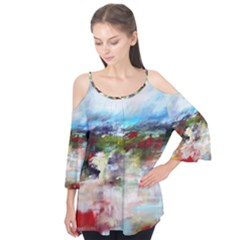 red abstract landscape Flutter Tees