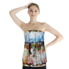 Red Abstract Landscape Strapless Top
