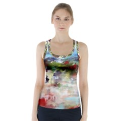 red abstract landscape Racer Back Sports Top