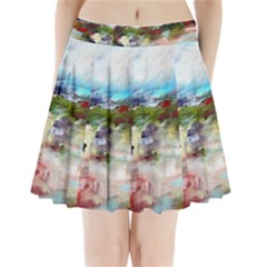 red abstract landscape Pleated Mini Skirt