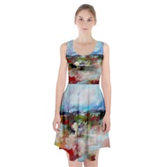 Red Abstract Landscape Racerback Midi Dress