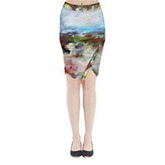red abstract landscape Midi Wrap Pencil Skirt