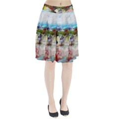 red abstract landscape Pleated Skirt