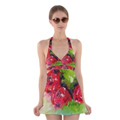Floral  Red On Green Halter Swimsuit Dress