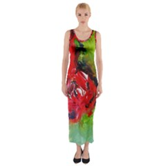 Floral  Red On Green Fitted Maxi Dress