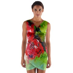 Floral  Red On Green Wrap Front Bodycon Dress