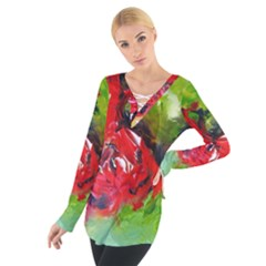 Floral  Red On Green Women s Tie Up Tee