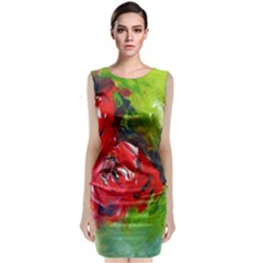 Floral  Red On Green Classic Sleeveless Midi Dress