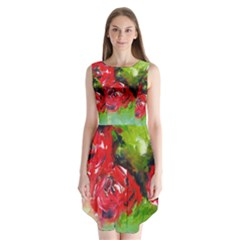 Floral  Red On Green Sleeveless Chiffon Dress