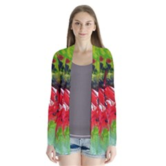Floral  Red On Green Drape Collar Cardigan