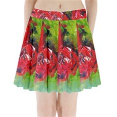 Floral  Red On Green Pleated Mini Skirt
