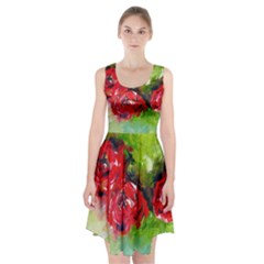 Floral  Red On Green Racerback Midi Dress