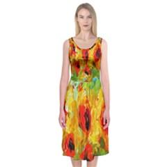 Sunflowers  Midi Sleeveless Dress