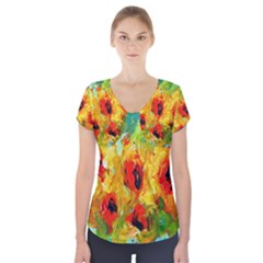 Sunflowers  Short Sleeve Front Detail Top