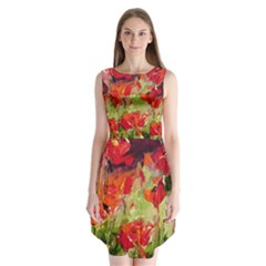 Abstract Poppys  Sleeveless Chiffon Dress