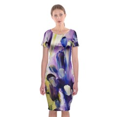 Purple Abstract Print  Classic Short Sleeve Midi Dress