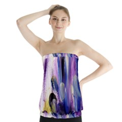 purple abstract print  Strapless Top