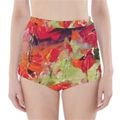 abstact poppys art print High-Waisted Bikini Bottoms
