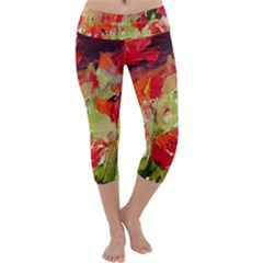 Abstact Poppys Art Print Capri Yoga Leggings