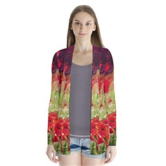 Abstact Poppys Art Print Drape Collar Cardigan