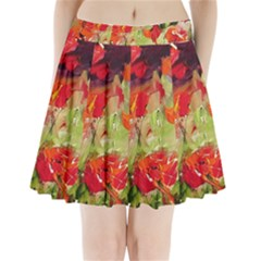 abstact poppys art print Pleated Mini Skirt