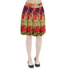 abstact poppys art print Pleated Skirt