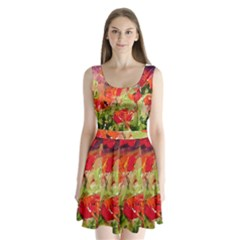abstact poppys art print Split Back Mini Dress