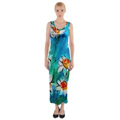 Abstract Daisys Floral Print  Fitted Maxi Dress