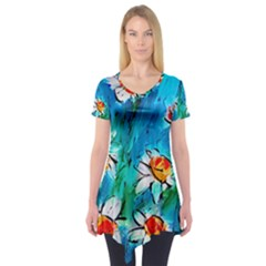 Abstract daisys floral print  Short Sleeve Tunic