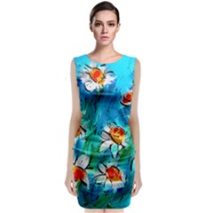 Abstract daisys floral print  Classic Sleeveless Midi Dress