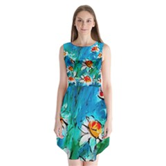 Abstract daisys floral print  Sleeveless Chiffon Dress