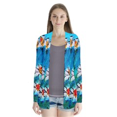 Abstract Daisys Floral Print  Drape Collar Cardigan