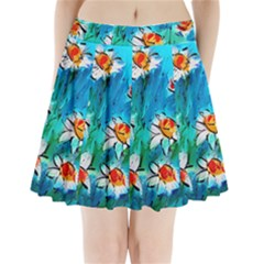 Abstract daisys floral print  Pleated Mini Skirt