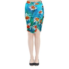 Abstract daisys floral print  Midi Wrap Pencil Skirt