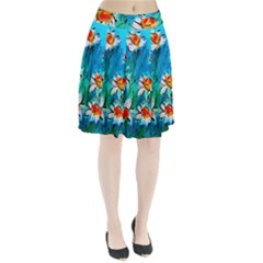 Abstract daisys floral print  Pleated Skirt